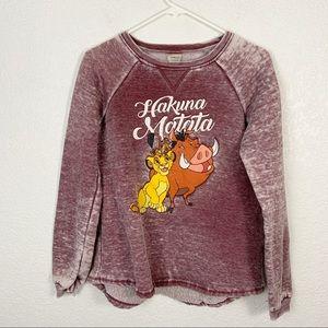 Disney Maroon Burnout Hakuna Matata Shirt Medium